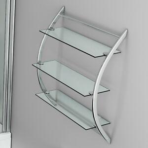 Image Is Loading Bathroom Glass Wall Mounted Shelf Unit Shelves Storage