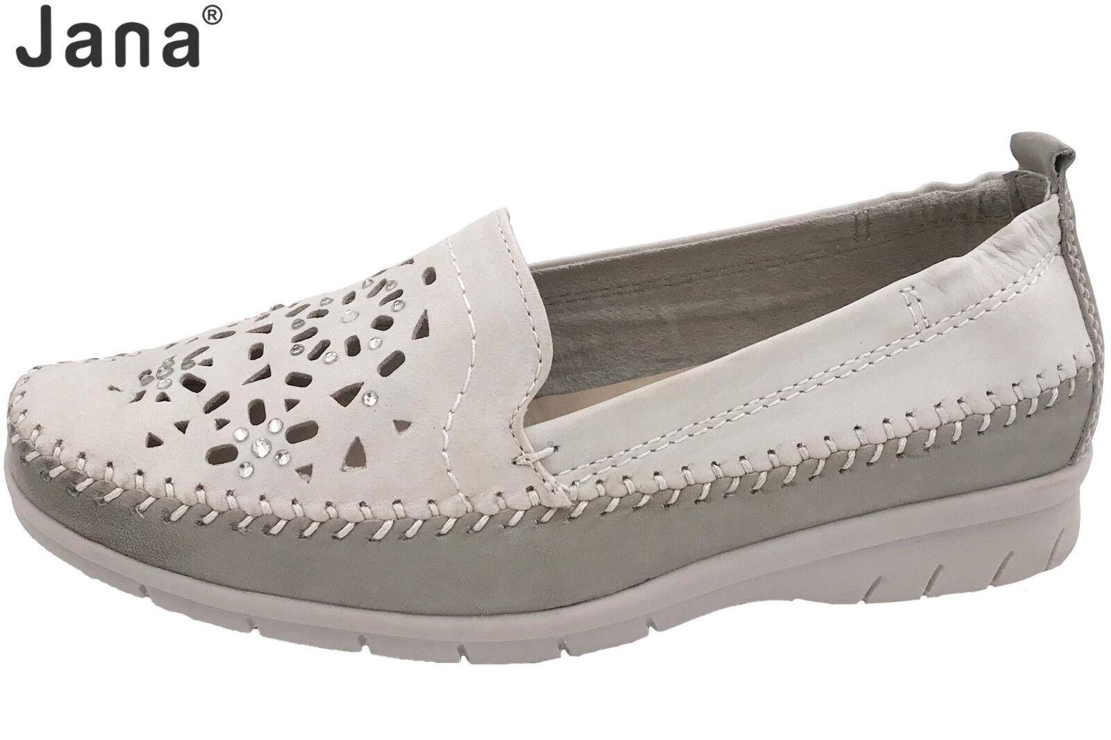 Jana Damen Leder Slipper Weiß OffWeiß Leder Damen Schuhe lose Einlage NEU 88-24615-20-190 5720e6