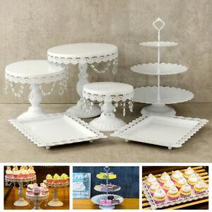 9PCS Wedding Cake Stand Crystal Decor Metal Cupcake Holder w// Crystal Plates Set