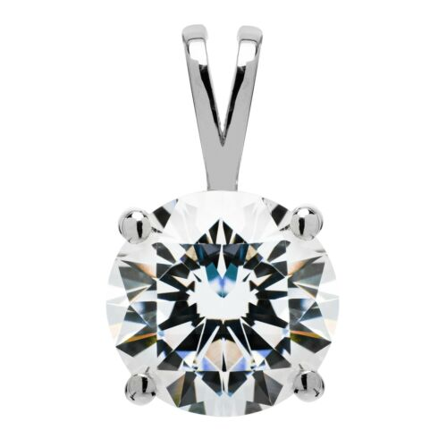 Round Cut Cubic Zirconia Solitaire 2.0 Carat Details about  /14K Solid White Gold Pendant Only