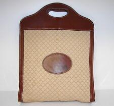 Authentic Vintage GUCCI Brown Diamante Monogram Fabric Leather Tote Handbag