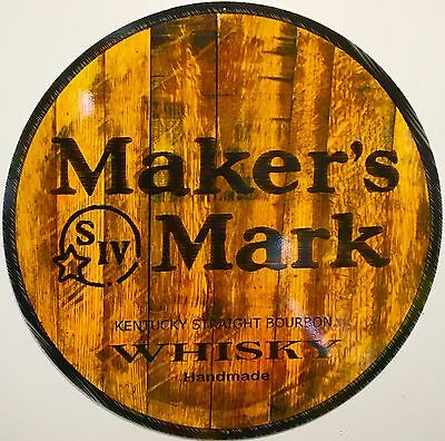 w// bracket 14 inch diameter 2 sided wall hanging sign Makers Mark Whisky Sign