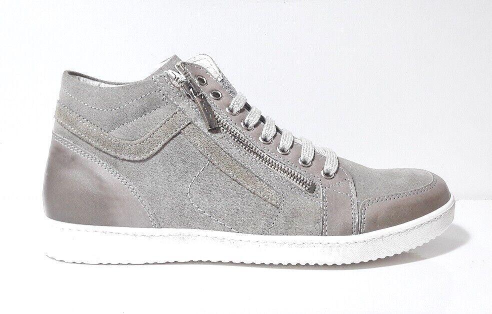 shoes SNEAKERS ALTE men KEYS 3836 CAMOSCIO PELLE grey LACCI CERNIERA ITALY