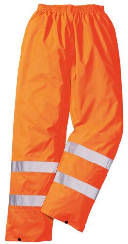 gelb oder orange Regen Warnschutz Hose Regenhose Bundhose Warnhose H441