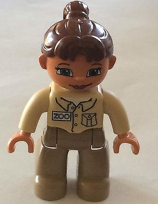 *NEW* Lego DUPLO Female ZOO WORKER DARK TAN Legs TAN Top BROWN Hair GREEN Eyes