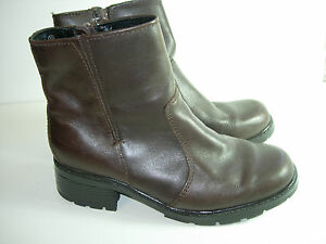 WOMENS-BROWN-LEATHER-CALF-HIGH-BOOTS-HEELS-CAREER-COMFORT-SHOES-SIZE-7-5-M