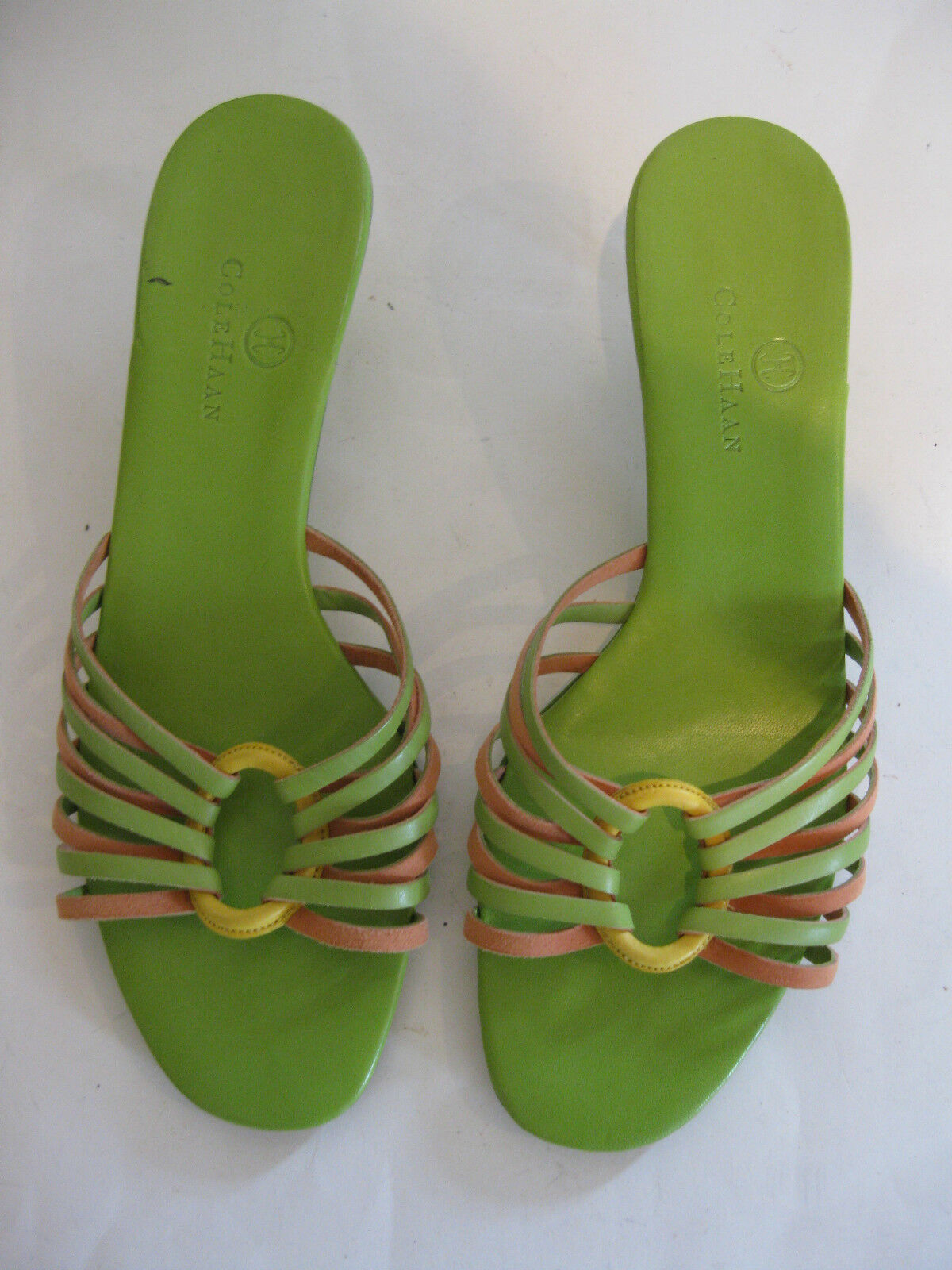 COLE HAAN MULTIcolorD LEATHER SANDALS WITH FRONT DESIGN SIZE 8B