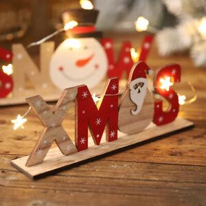 Details About Christmas Decorations Wooden Letters Desktop Ornaments Simple Table Decor Sign