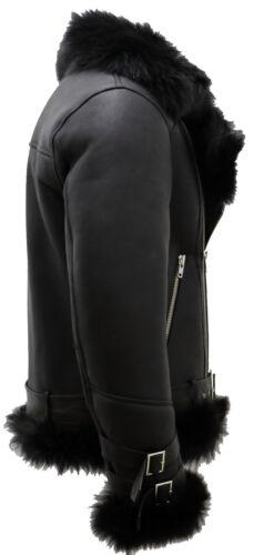 Men/'s Black Crosszip Toscana Sheepskin Leather Biker Jacket