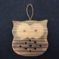 VINTAGE WOODEN OWL ORNAMENT-W/ HOLES IN IT-BASIC MINIMALIST DESIGN-5.5 IN-CUTE!