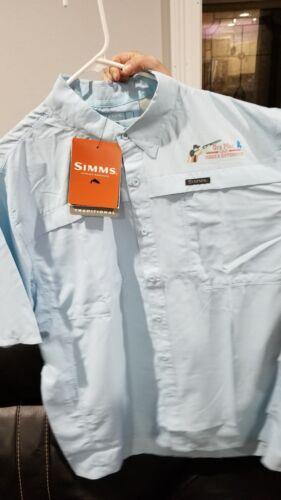 Simms vented fishing shirt BNWT blue Sm