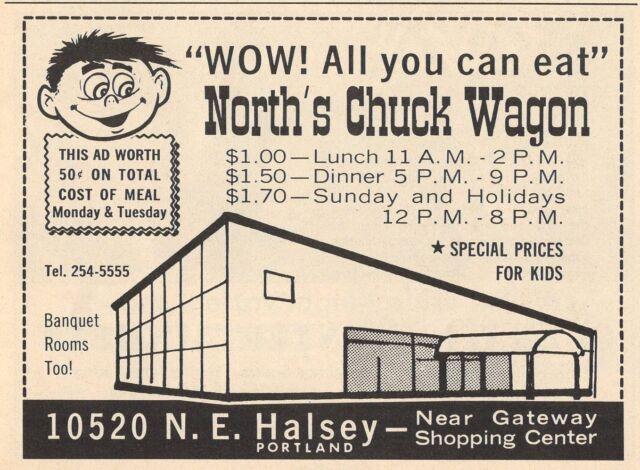 1968 Restaurant Ad North S Chuck Wagon Portland Oregon N E Halsey Street