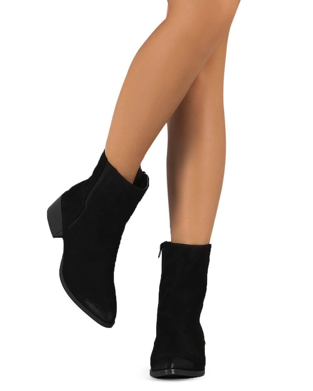New Women Qupid Wasco-01 Suede Pointy Toe Block Heel Zip Chelsea Boot Size