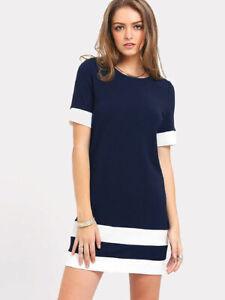 Womens-Colour-Block-Stripe-Bodycon-Dress-Ladies-Short-Sleeve-Shift-T-shirt-Dress