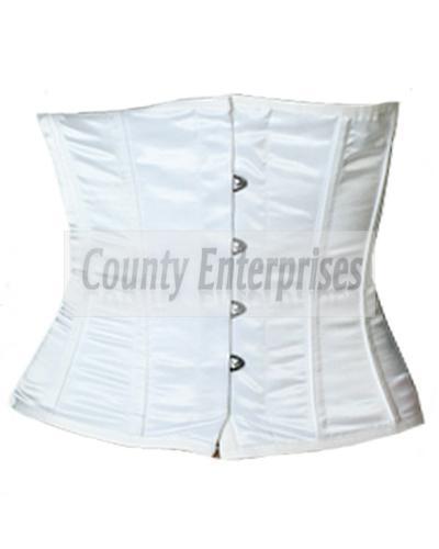 Full Steel Boned Spiral Shaper Cincher Taillen Waist bust White Satin Corset