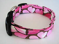 Charming Pink & Brown Retro Valentines Day Hearts Dog Collar