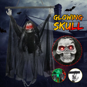 Halloween-Hanging-Decoration-Prop-Voice-Horror-Seleton-Sull-Ghost-Red