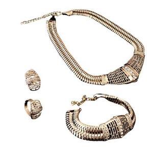 Fashion-Jewelry-Women-Crystal-Pendant-Chain-Choker-Collar-Bib-Necklace-Set-BR