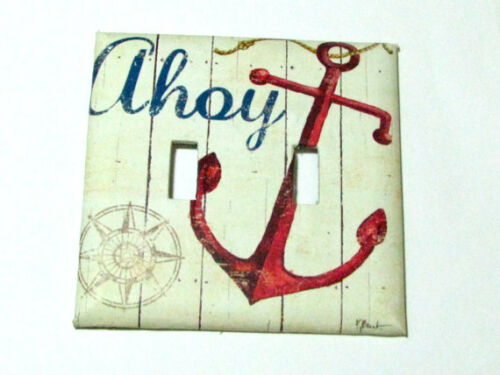 Double Light Switch Cover Light Switch Plate Ahoy Anchor Nautical