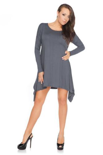 Damen Überdimensional Asymmetrisch Minikleid Locker Sitzend Baumwolltunika Größe