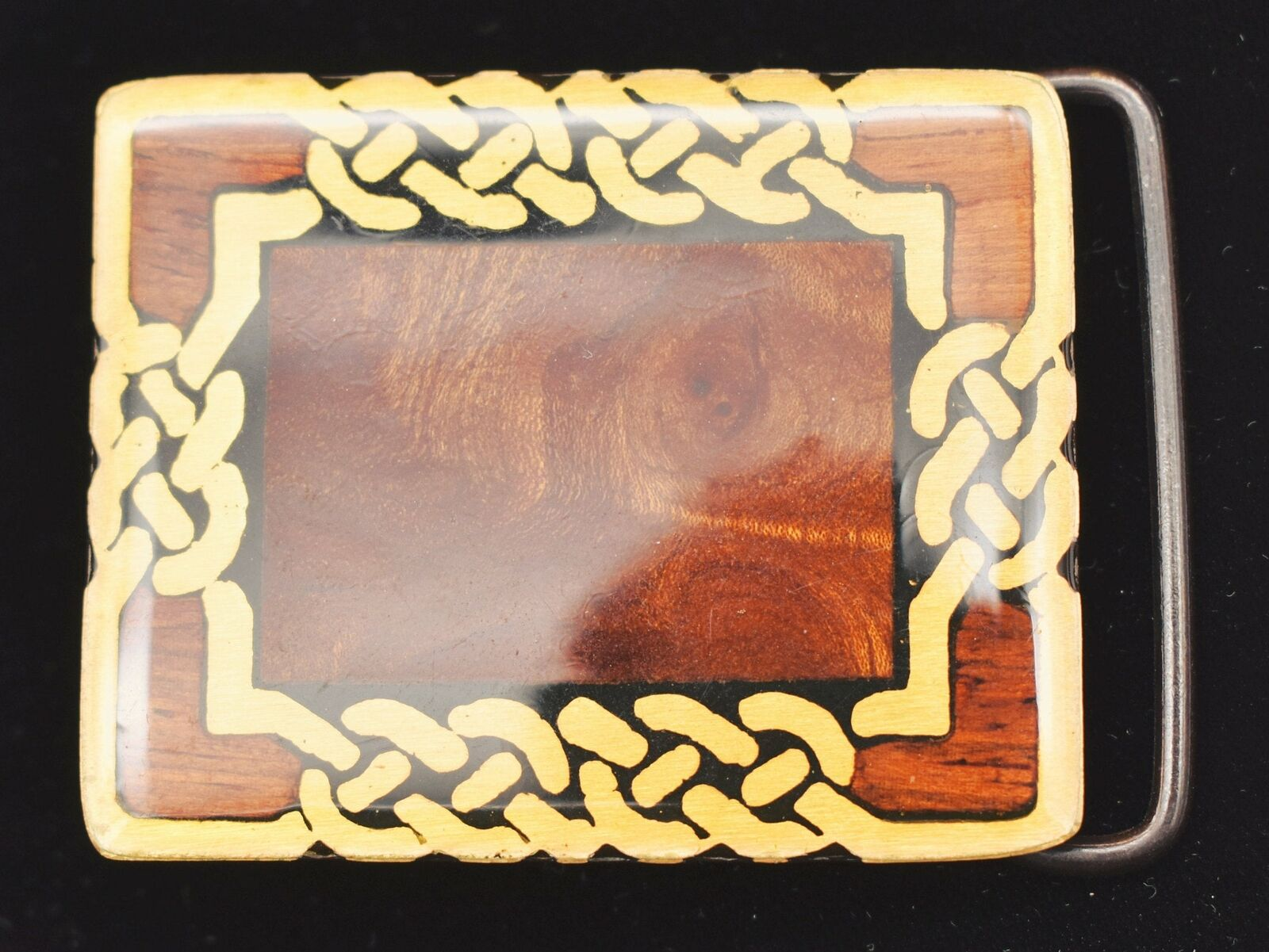 Burly Wood Inlay Celtic Knots Harmony Metals Solid Brass Vintage Belt Buckle