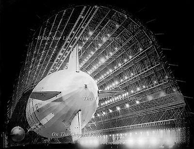 Poster Print: 18 x 24, Airship USS Macon - Night View At Moffett Field, CA, 1933