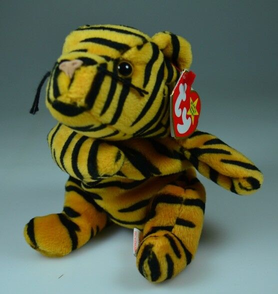 '95 Ty Beanie Baby Stripes Tiger PVC PELLETS RARE RETIRED Factory Errors