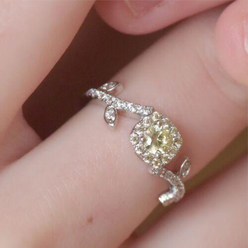 18K White Gold GF 0.5 carat women/'s wedding Ring Simulated pale yellow Diamond