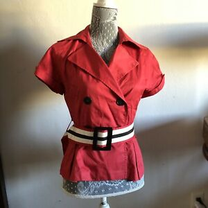 Zara-Basic-Womens-Coat-Peacoat-Red-Cropped-Belted-Button-Front-EUC-Size-Small