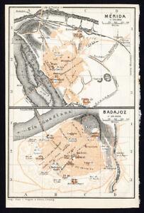 Antique Map Spain Plan Of Merida Badajoz Karl Baedeker 1913 Ebay