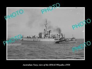 OLD-LARGE-HISTORIC-PHOTO-OF-AUSTRALIAN-NAVY-SHIP-HMAS-WHYALLA-c1950