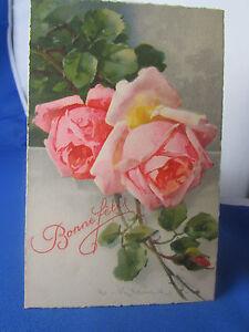 cpa-ilustrador-fantasia-klein-rosas-fiestas