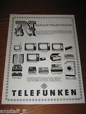 *13=TELEFUNKEN TV TELEVISORE=ANNI '60=PUBBLICITA'=ADVERTISING=WERBUNG=PUBLICITE=