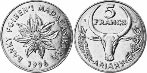 KM21 Madagascar 1996 5 Francs Uncirculated