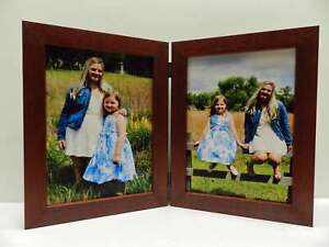8x10-Mahogany-Stain-Double-Hinged-Vertical-Wood-Photo-Picture-Frame-New