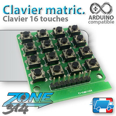 Module Arduino Clavier 16 touches (bouton poussoir) - Key switch Push button