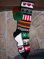 Santa's Stocking Works Hand Knit Sampler Christmas Stocking Snowflakes Trees