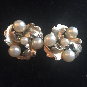 Signed Lisner Clip On Cascade Pearl and Crystal Cha-Cha Earrings