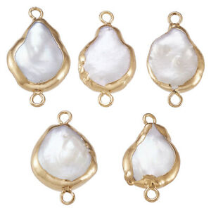 10pcs Electroplate Natural Keshi Pearl Pendants Cultured Freshwater Pearl Charms