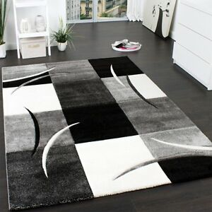 Details About Luxury Rug High Quality Modern Fashion Style Abstract Carpet Black White Grey
