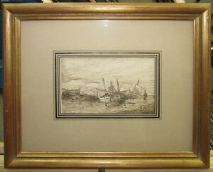 Eugene-Deshayes-1860s-Old-Master-Drawing-Boats-by-Shore-Listed-French-Realist