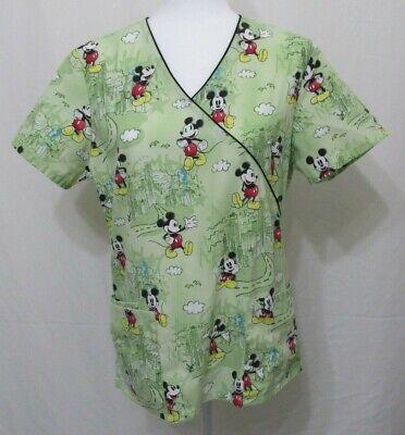 Disney 90 Years of Mickey Mouse Scrub Top XL Mock Wrap Uniform Medical Dental
