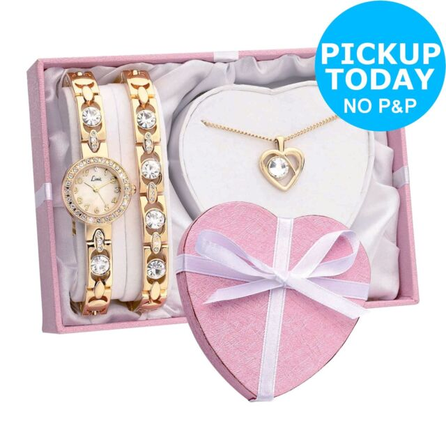 Limit Ladies' Gold Plated Bracelet, Pendant and Easy to Read Analogue Watch Set.