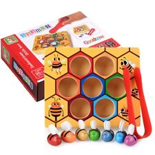 Wooden Seven Bees Hive Board Game Entertainment Early Childhood Education Toy UK