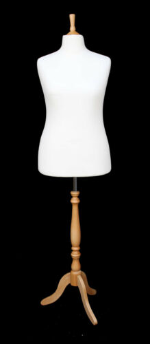 DELUXE Size 18 Female Dressmakers Dummy Mannequin Tailor WHITE Bust BEECH Stand