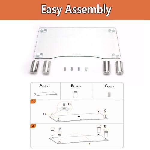 HEMUDU Clear Glass Monitor Riser Desktop Stand ✪NEW✪ iMac XBOX PS4 PS3 HD01T-002