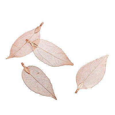 Anhänger, Charm Blatt, Blätter 62x33mm - 52x21mm Rosegold 1x Bacatus Bronzeguss