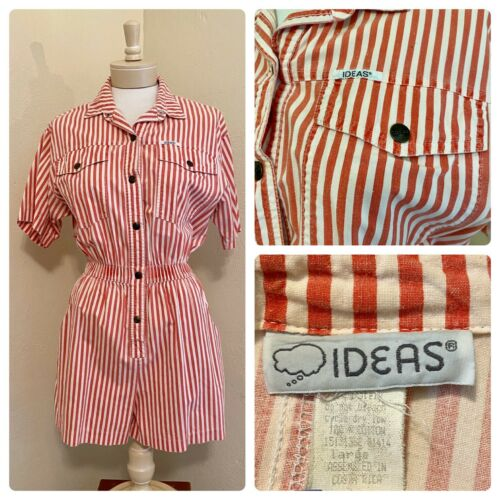 Vintage 80s 90s Ideas Red White Striped Romper One