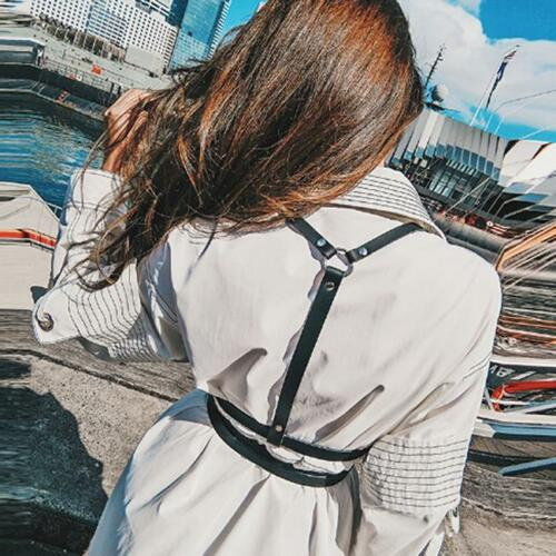 Women PU Leather Chest Body Binding cage Bondage Harness Waist Garter Belts DP