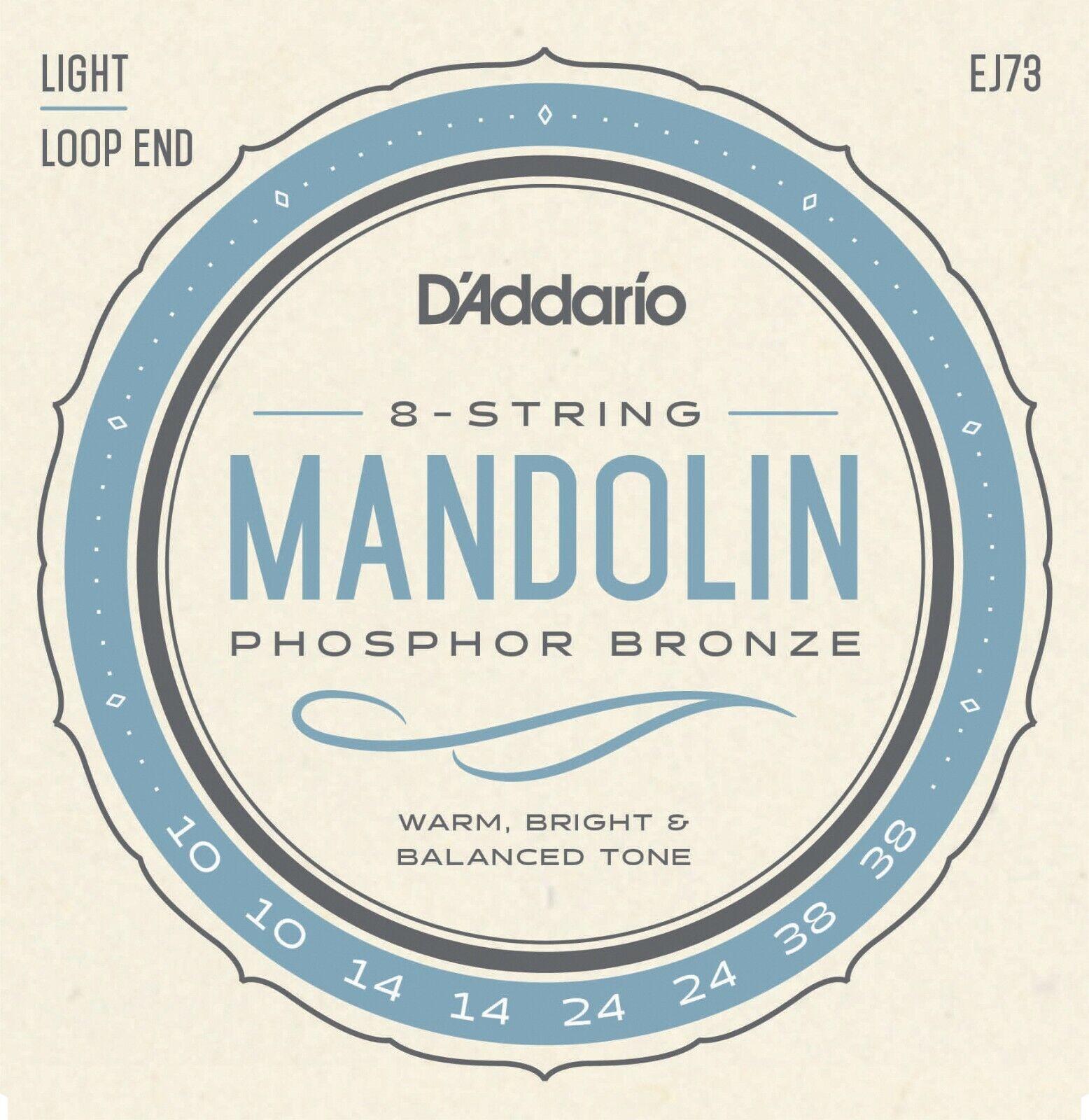 10 Sets D'Addario EJ73 Mandolin Strings Phosphor Bronze LIGHT 10-38 J73